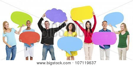 Group Friends Opinion Speech Bubbles Expression Concept