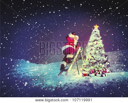 Santa with Lamp on a Step-Ladder by the Christmas Tree Concept