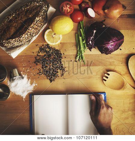 Food Ingredients Preparing Cooking Book Concept
