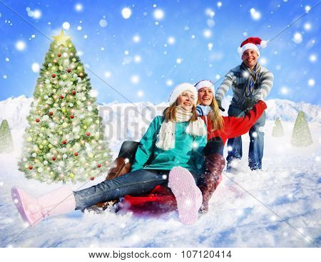 Christmas in The Snow Playing Snowboard Concept