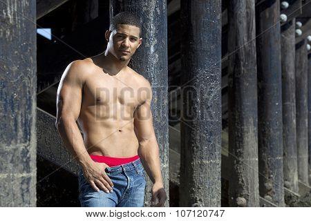 Bodybuilder bare chested