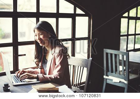 Businesswoman Secretary Reading Book Story Concept