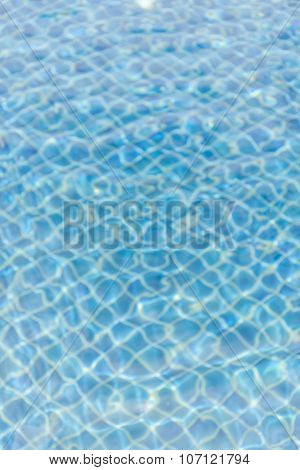 Blurred Photo Of Water Ripples On Blue Swimming Pool.
