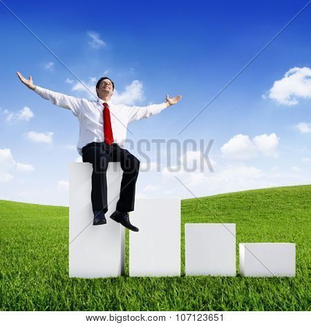 Businessman Relaxation Green Growth Success Achievement Concept