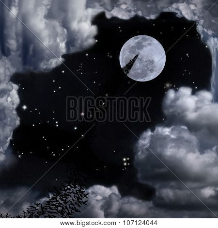 Bats And Beautiful Full Moon Sky