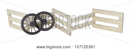 Stage Coach Wheels Against Wooden Fence