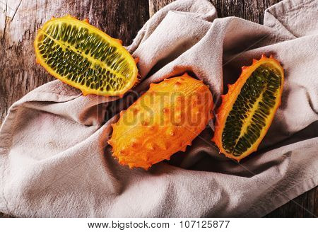 Kiwano, fruit. Horned melon on the table
