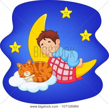 Cute little boy with cat sleeping on the moon
