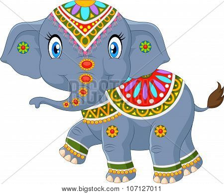Cartoon elephant with indian classic traditional costume