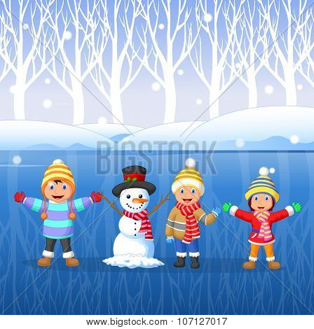 Cartoon kids playing on snow in winter time