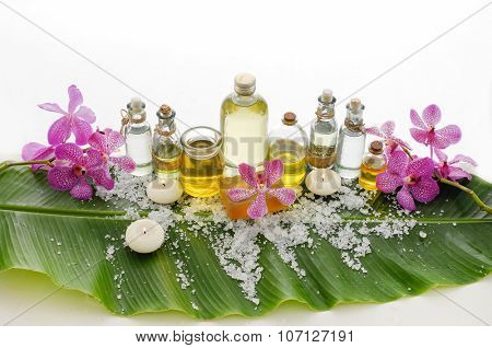 Spa set on banana leaf with set of massage oil
