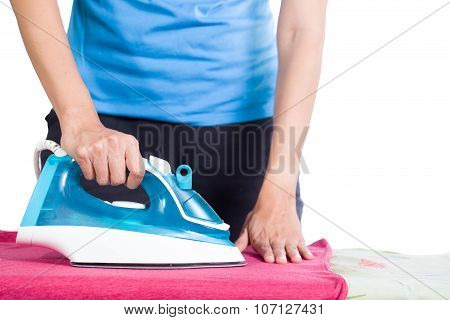 Woman Ironing Clothes On Ironing Board, White Background