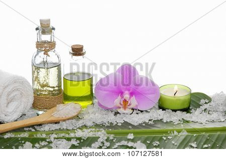 Spa set on banana leaf ,pink orchid