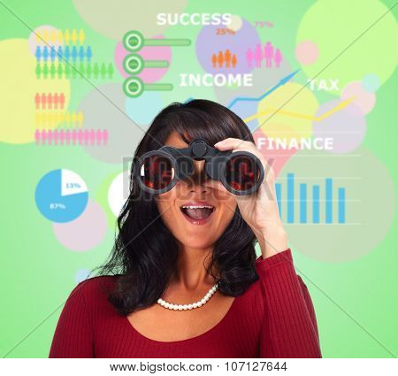 Business woman with binoculars over abstract background.