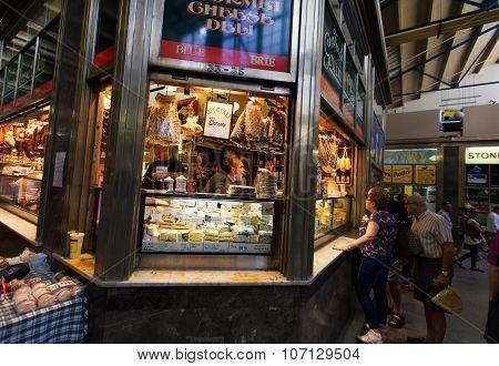 Melbourne, Aus - Apr 12 2014: Shoppers At Queen Victoria Market.