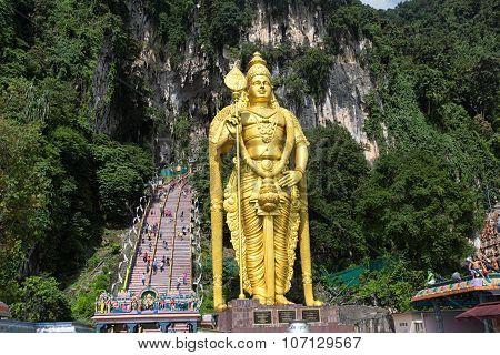 Batu Cave, Malaysia - Statue Of Lord Muragan At Batu Caves In Malaysia.