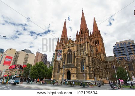 Melbourne, Australia - March 16, 2015:  St. Paul's Cathedral In Downtown Melbourne . Melbourne Is Th