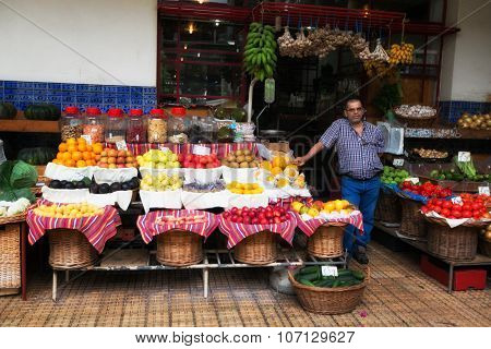 Funchal, Madeira, Portugal - June 29, 2015: Fresh Exotic Fruits In Mercado Dos Lavradores. Funchal,