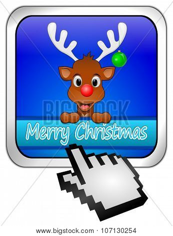 Reindeer wishing Merry Christmas Button with cursor