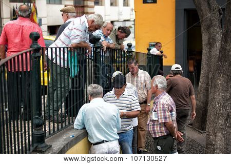Funchal, Portugal - June 27, 2015: Active Retirement, Old People And Seniors Free Time