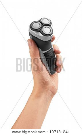 Electric shaver in hand, isolated on white background