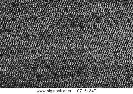 Texture of black jeans textile close up