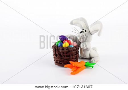 Colorful Easter Eggs, Carrots And Rabbit Isolated On White