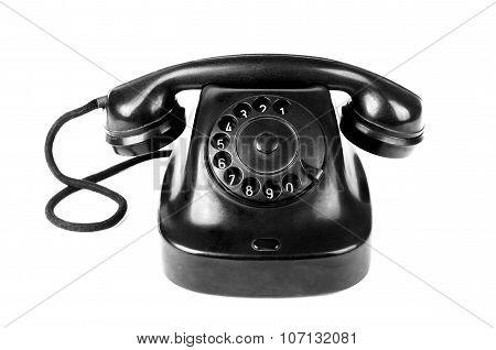 Black Vintage Telephone Isolated On White Background