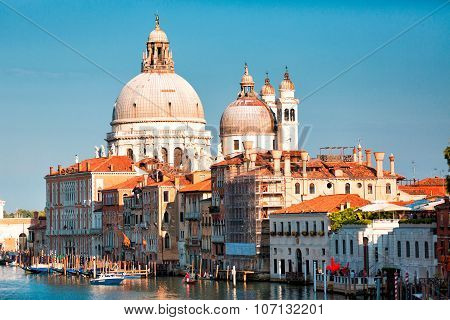 Gorgeous View Of The Grand Canal And Basilica Santa Maria Della Salute During Sunset With Interestin