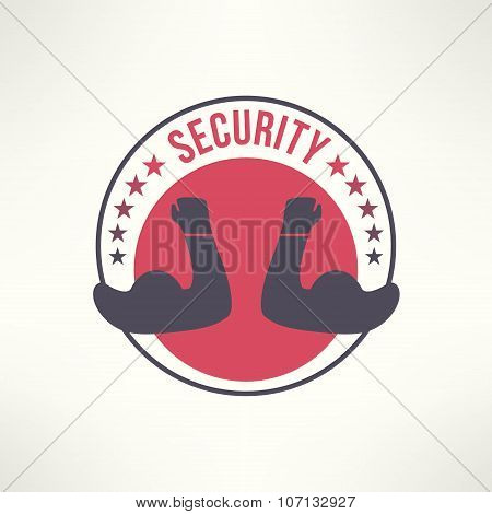 Vector symbol of guarding, protection, escort and defence. Security logo. T-shirt print design