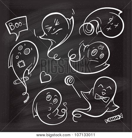 Set of halloween ghosts chalk doodles.
