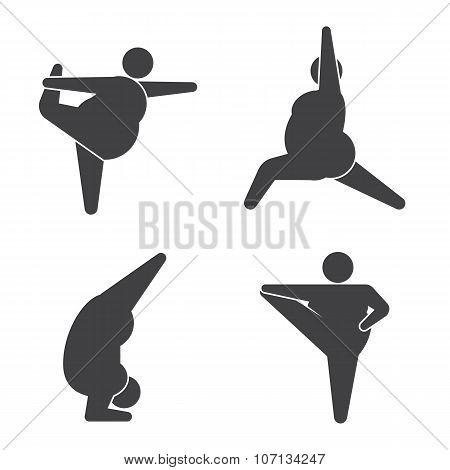 Big guy in pose practicing yoga