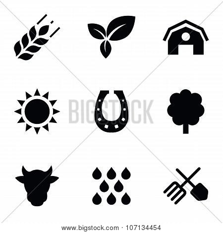 agriculture 9 icons set