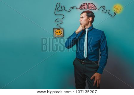 businessman thoughtful man hand on his chin thinks deeply brain
