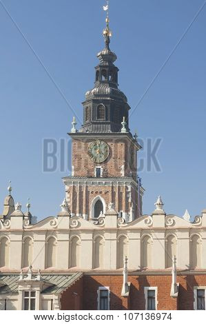 Poland, Krakow, Main Market, Sukiennice, Town Hall Tower, Midday