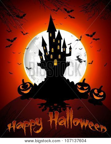 Halloween grave on full moon background pumpkins, hand, scary house and bats