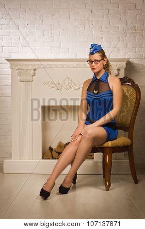 Sexual Stewardess In The Vintage Interior