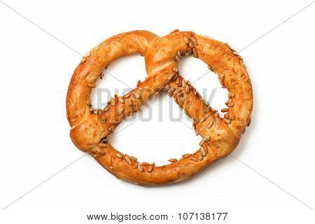 Traditional Fresh German Pretzel (bretzel) With Salt On White Background