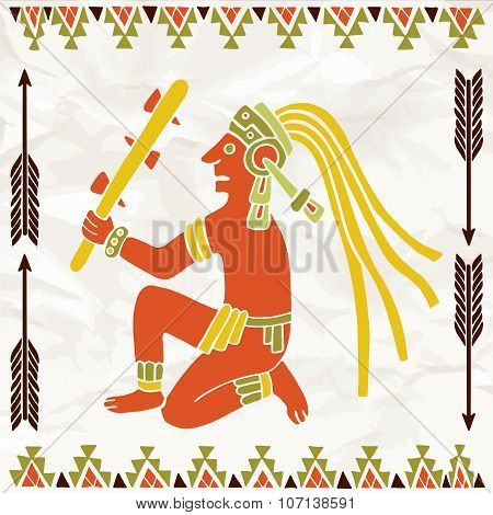 Colorful Aztec Or Maya Of South America Sitting With Truncheon