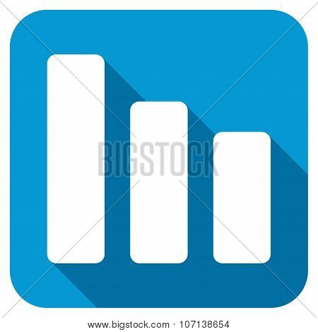 Bar Chart Decrease Longshadow Icon