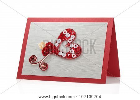 Quilling Decoration, Beautiful Card Isolated On White