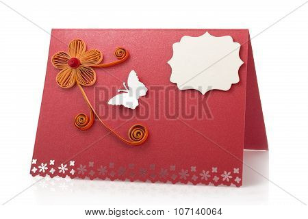 Paper Card Or Table Card Made With Quilling Technique Isolated On White
