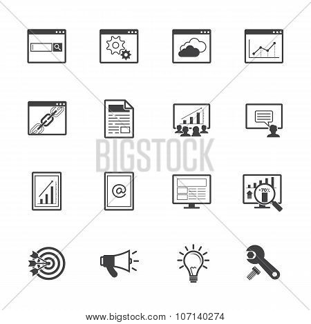 Big data icons set. SEO concept.