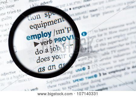 Dictionary Definition Of The Word Employ And Reading Glass