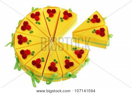 Paper Pieces Of Cake Made With Quilling Technique Isolated On White