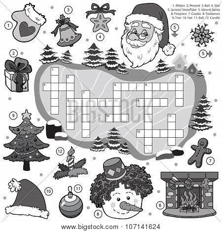 Colorless Crossword, Education Game For Children About Christmas