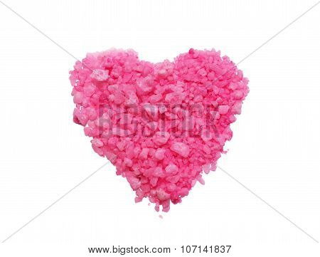 pink salt in the form of heart