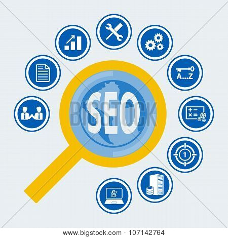 SEO icon set for Infographic