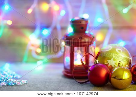 Burning Lantern And Christmas Decoration