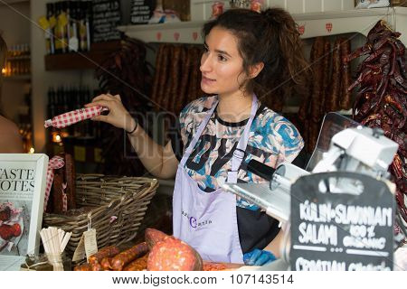 LONDON - JUN 12, 2015: Homemade meat loaf (sausage) at organic farmers' Sunday market.